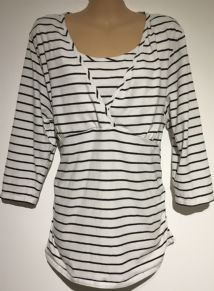 BLOOMING MARVELLOUS MATERNITY WHITE STRIPE 3/4 SLEEVE TUNIC TOP SIZE XL 16-18